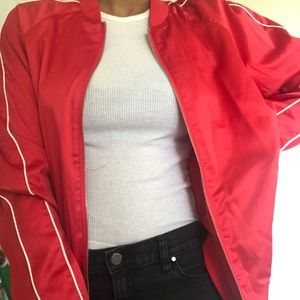 Forever 21 Jackets & Coats - Red satin bomber
